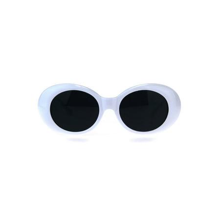 Womens Mod Oval Thick Plastic Classic Retro Sunglasses White Black - Mod Sunglasses