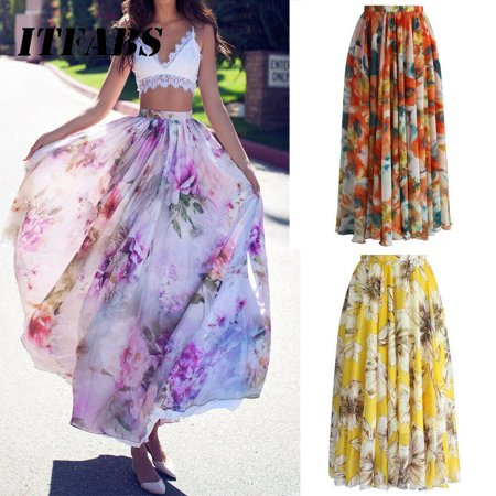 - The Noble Collection BOHO Ladies Floral Jersey Gypsy Long Maxi Full Skirt Summer Beach Sun Dress