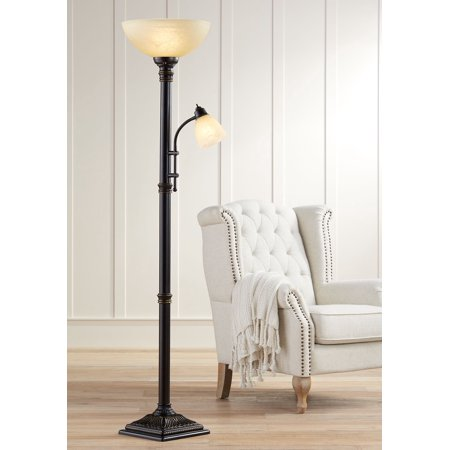Amber Living Room - Regency Hill Traditional Torchiere Floor Lamp 2-Light Oiled Rubbed Bronze Amber Glass Shades for Living Room Reading Bedroom