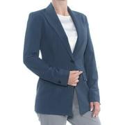 ANNE KLEIN Womens Blue One-button Closure Blazer Wear To Work Jacket  Size: 4