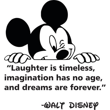 Laughter Is Timeless Imagination Has No Age & Dreams Are Forever Walt Disney Quote Mickey Mouse Silhouette Custom Wall Decal Vinyl Sticker 14 Inches X 14 Inches](Mickey Mouse Custom)