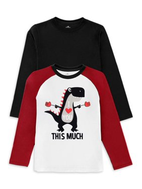 Valentine's Day Baby Toddler Boy Graphic & Solid Long Sleeve T-shirt, 2 pk
