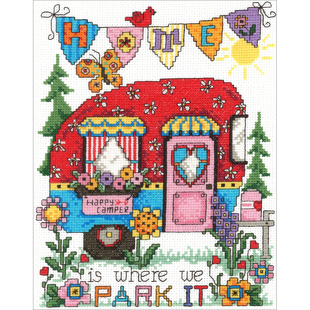 """Happy Camper Counted Cross Stitch Kit, 6.75"""" x 8.75"""", 14-Count"""