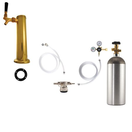 1 Faucet Tower Kegerator Conversion Kit   Brass Tower   Low Profile Us Sankey D System   5Lb Co2 Tank