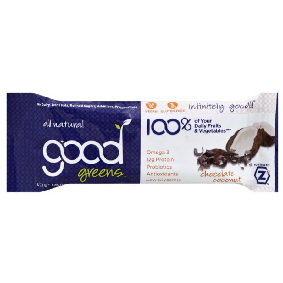 Good Greens Chocolate Coconut Wellness Bar, 1.76 oz, (Pack of 12)