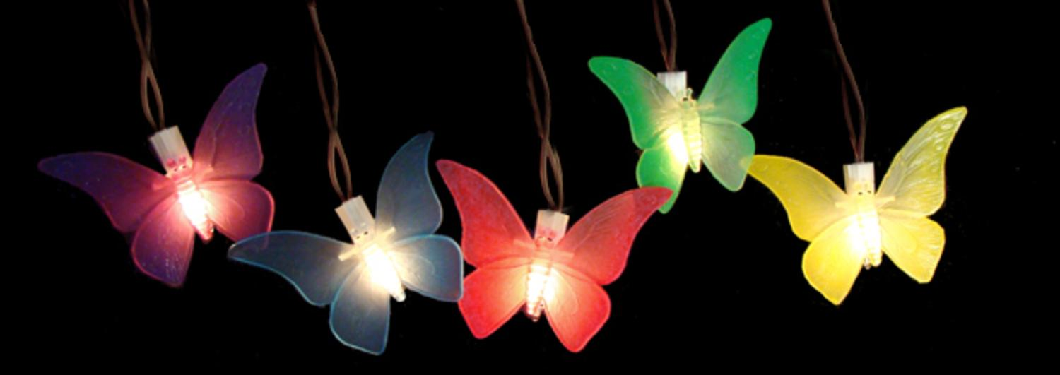 Amazing Set Of 10 Battery Operated LED Butterfly Garden Patio Umbrella Lights With  Timer
