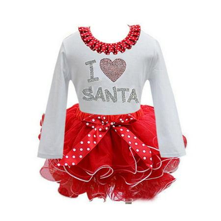Enjoyofmine Girls Santa Claus Princess Dress Dot Gauze Christmas Gift Winter Dress for Girls - Winter Girls Dresses