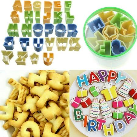 Marsin 28Pcs Plastic Alphabet Letter Fondant Icing Cutter Set Cake Decorating Mold ()