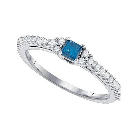 10kt White Gold Womens Princess Blue Color Enhanced Diamond Bridal Wedding Engagement Ring 1/2 Cttw - image 1 of 1