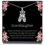SheridanStar Granddaughter Ballerina Ballet Shoes/Slippers Pendant Necklace on Jewelry Gift Message Card (Silver Tone)