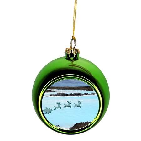 Santa Klaus and Sleigh Riding Over Blue Lagoon, Iceland Ornaments Green Bauble Christmas Ornament Balls ()