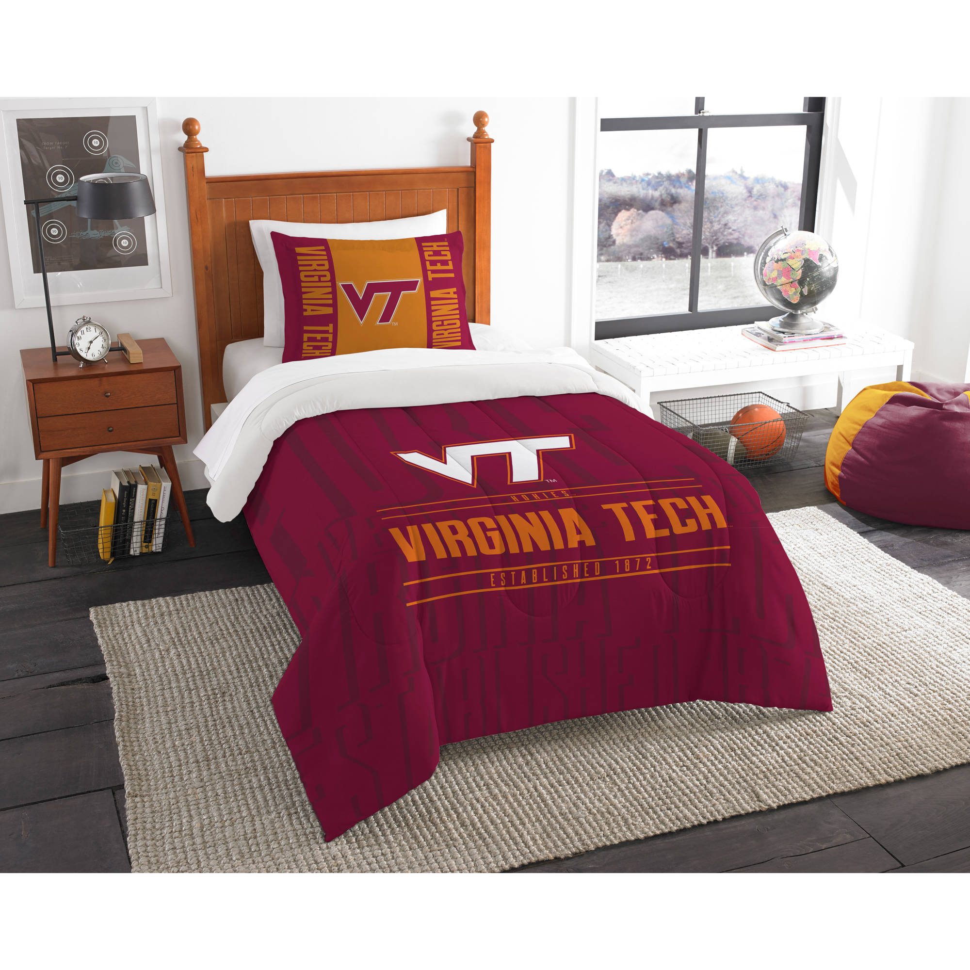 "NCAA Virginia Tech Hokies ""Modern Take"" Bedding Comforter Set"