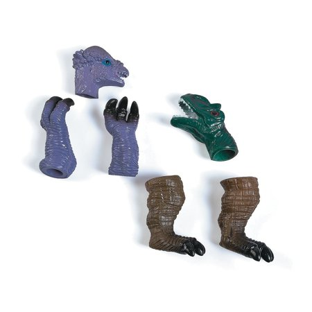 6 Pieces Dinosaur Finger Puppets With Claws Vinyl 2.5 Inches, In Assorted Colors And Designs - Jurassic Dinosaurs Props - Toy for Children, Puppet Show, Educational, Party Favor, Gift – By Kidsco