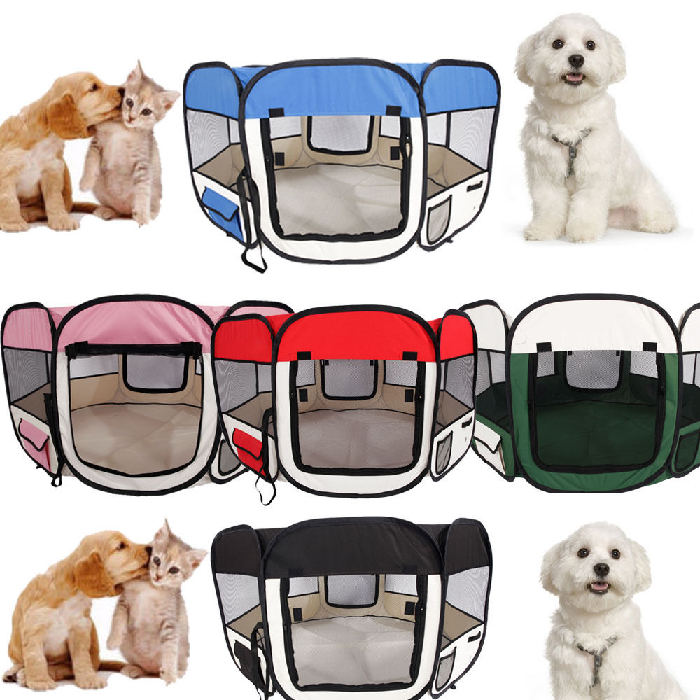 "Zimtown 57"" Portable Foldable Pet Fence Puppy Soft Oxford Playpen Exercise 59cm*94cm 5 Colors"
