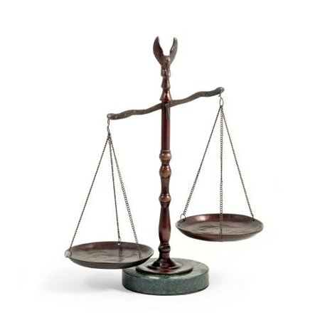 Bronzed Legal Lawyer Scales of Justice with Eagle Finial and Marble Base-12.5in.ht (Eagle Finial)