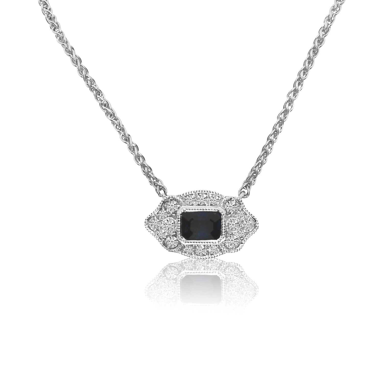"""14K White Gold Filigree Emerald-Cut Sapphire and Diamond Necklace on 18"""" Chain by"""