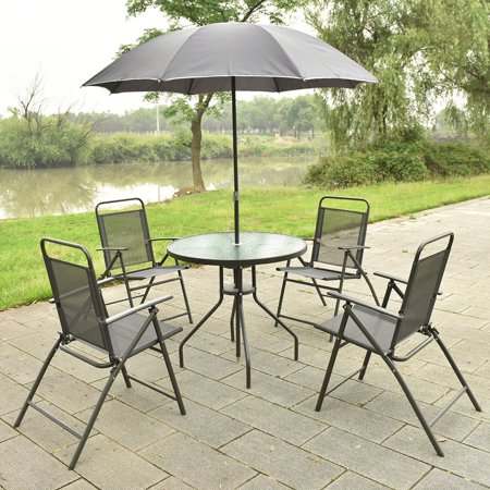 Costway 6 pcs patio garden set furniture umbrella gray for Patio table and chairs with umbrella