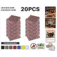 "Acepunch Burgundy 9.8"" x 9.8"" x 1.9"" Wall Studio Wedge Acoustic Foam Sound-Absorbing Tile Panel 20 pcs"