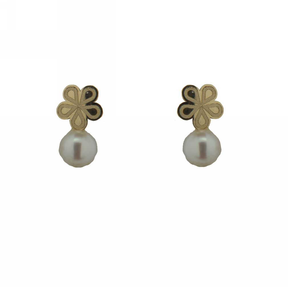 18K Yellow Gold Flower with Pearl Screwback Earrings (5mm X 9mm   4mm Pearl) by