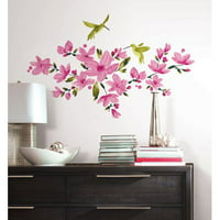RoomMates Peel and Stick Decor Wall Decals Pink Flowering Vine 35 Pieces
