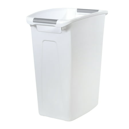 Hefty 10-Gallon Polished Open Waste Can with Comfort Handle Inserts, White