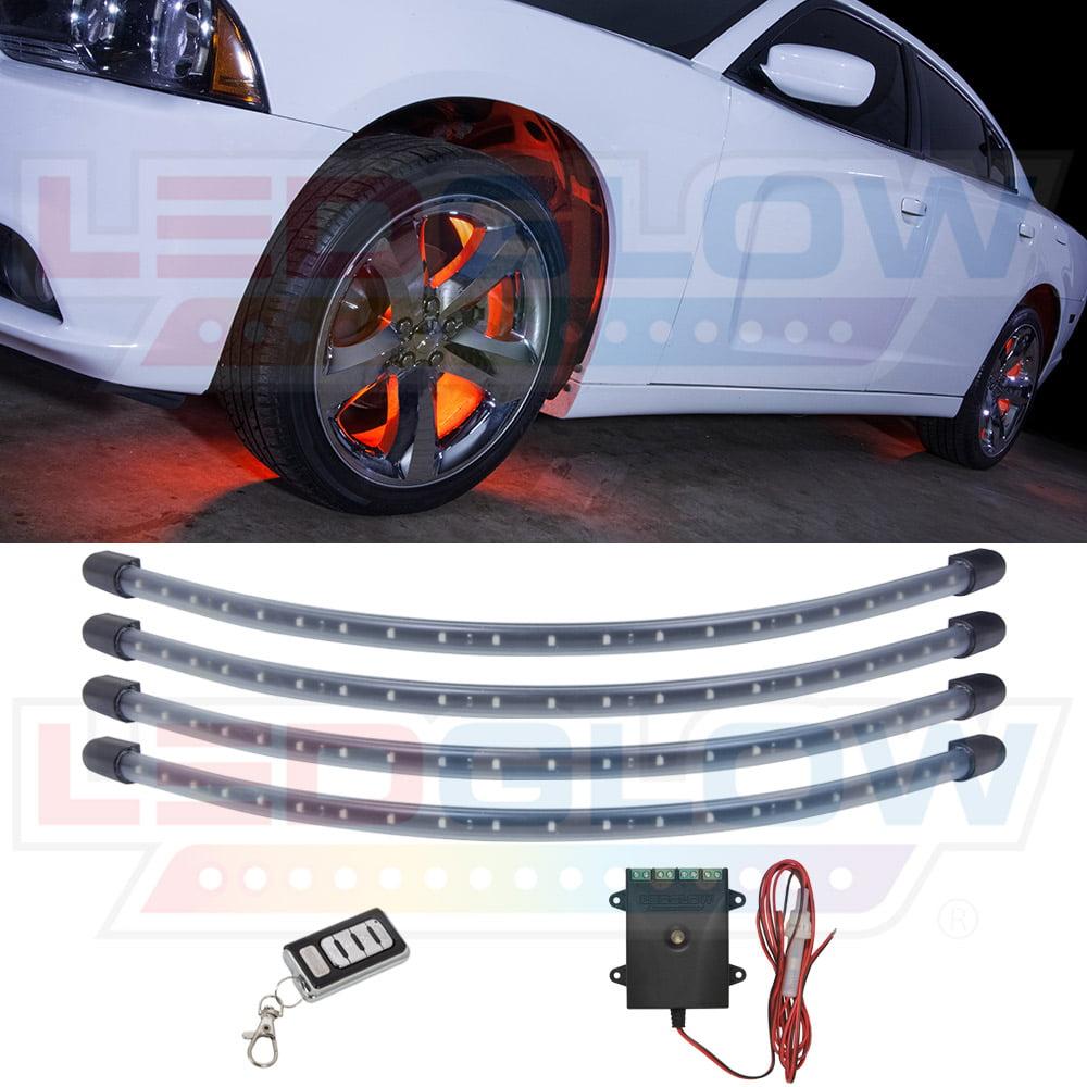 LEDGlow 4pc Orange LED Wheel Well Lighting Kit