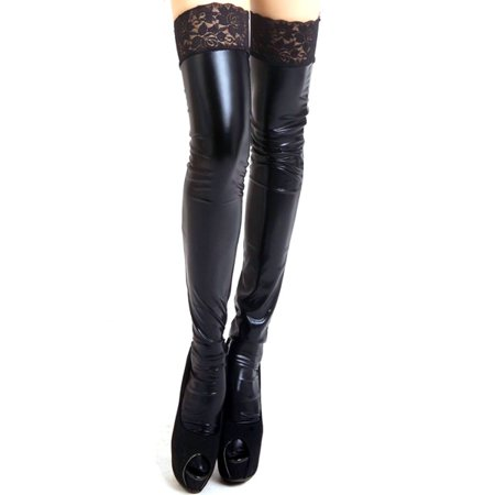 Lady PU Leather Over Knee Tights Thigh High Long Stockings Anti-skid Lace Socks