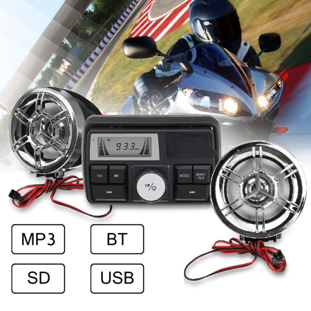 Motorcycle Stereo - bluetooth Motorcycle Handlebar Audio System motorcycleaccessorie USB SD FM Radio Stereo MP3 Speakers Waterproof