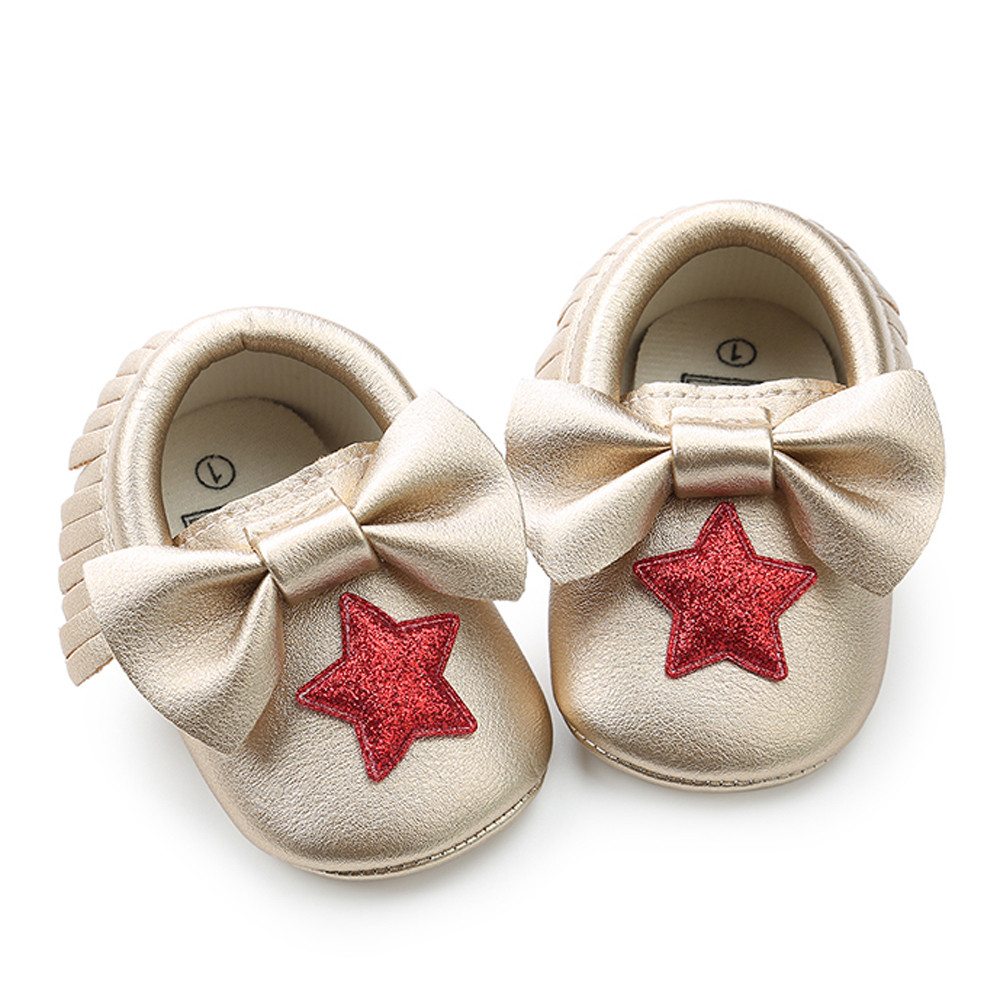 DZT1968 Baby Girl Sequins Bowknot Star Tassel Fashion Toddler First Walkers Kid Shoes