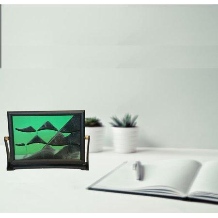 Flip Over Sand Art (Green) Plastic Frame, Glass Panel;Product Size: 6 x8 x 1.5 ()