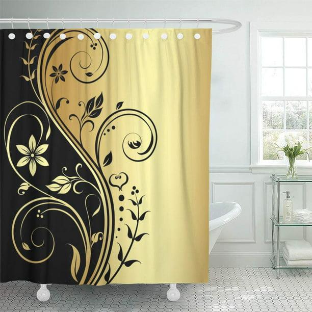 Cynlon Vintage Elegant Gold Fl, Unique Shower Curtain Designs