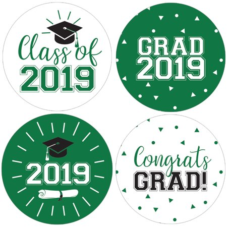 Green Graduation Party Stickers | 40 ct | 1 3/4 inch | Class of 2019 Favor Labels - Green Graduation