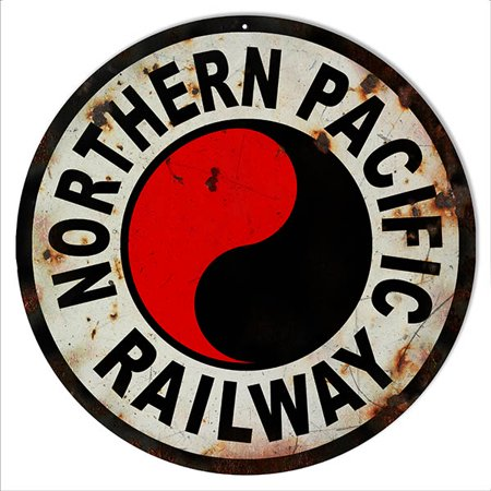 Distressed Northern Pacific  Railroad Herald Sign 14 Round