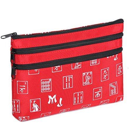 Mah Jongg Red and Silver 3 Zipper Mah Jong Purse for Mahjong card - image 1 of 2