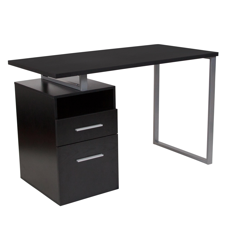Flash furniture harwood dark ash wood grain finish computer desk with two drawers and steel frame walmart com