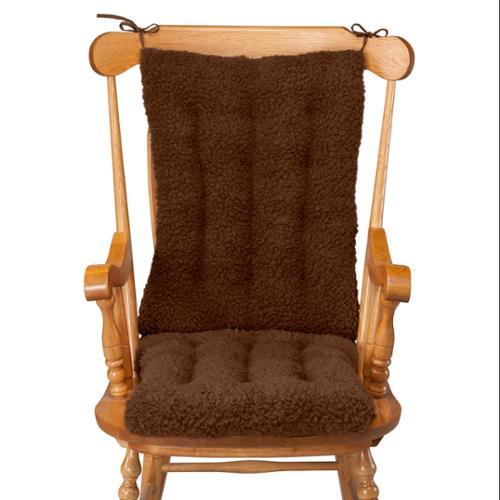 "Miles Kimball WalterDrake Sherpa Cushion Set for Rocking Chair, Set of 2 Cushions with Burgundy Color – Back Cushion of 22.5"" x 17"" x 3"" & Seat Cushion of 18.5"" x 17"" x 3"", Cushions for Rocking Chair"