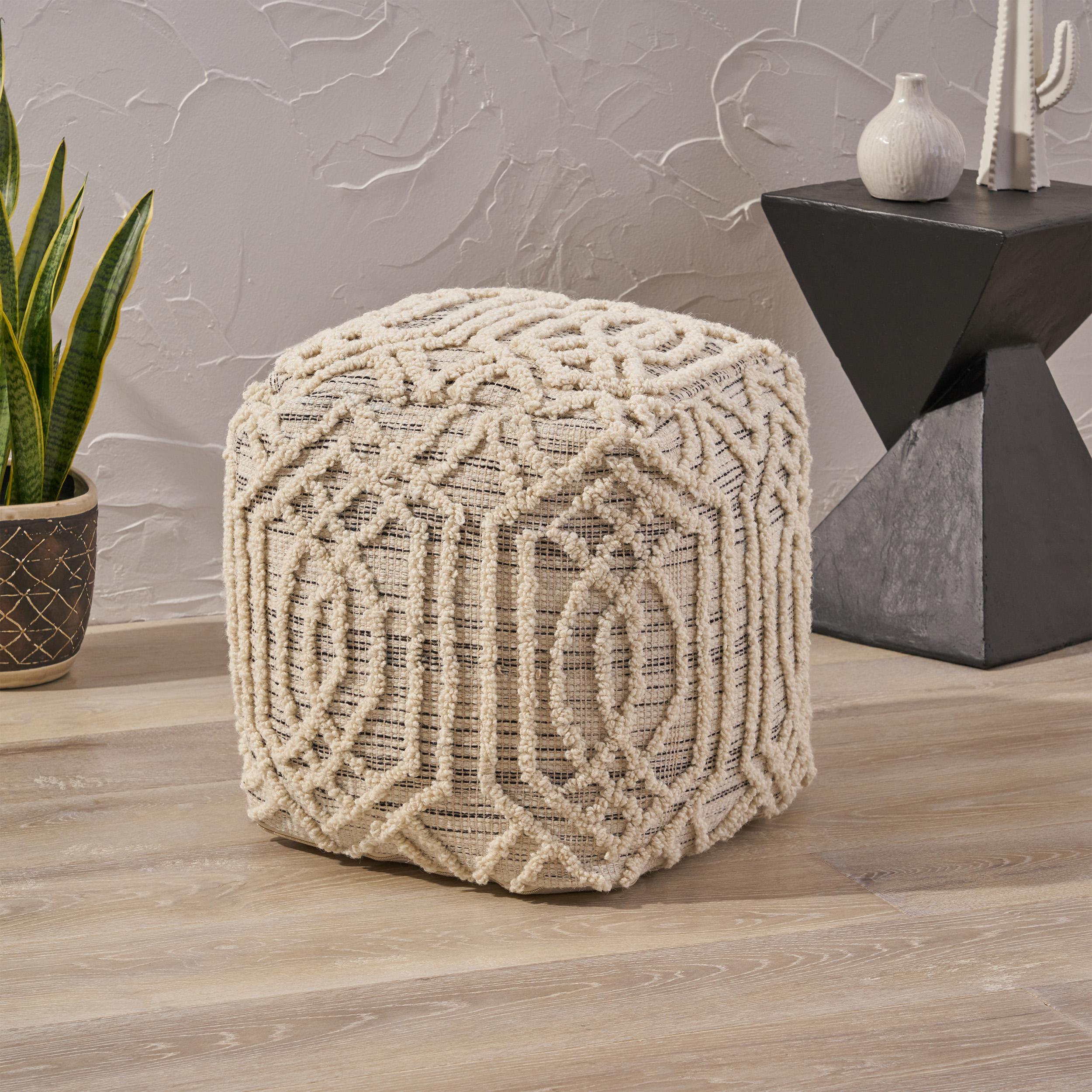 gdf studio poppy boho wool & cotton ottoman pouf
