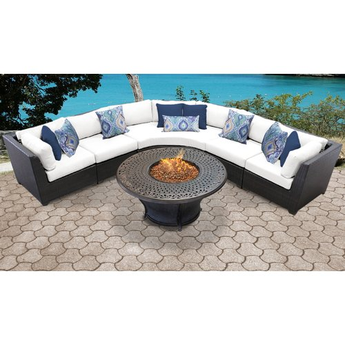 TK Classics Barbados 06L Wicker 6 Piece Fire Pit Patio Set