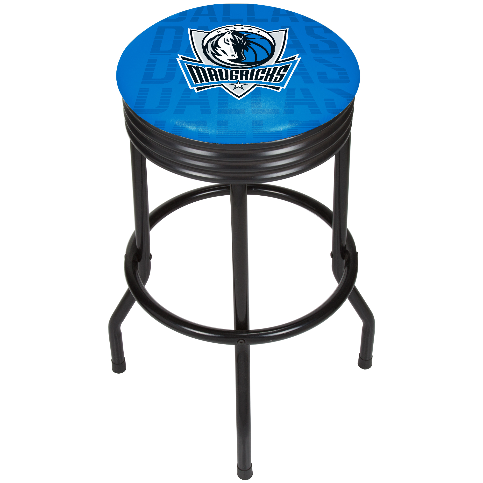 NBA Black Ribbed Bar Stool - City - Dallas Mavericks