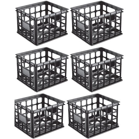 Sterilite Plastic Black Storage Box Milk Crate Containers Home (6 Pack) 16929006 - Storage Crates