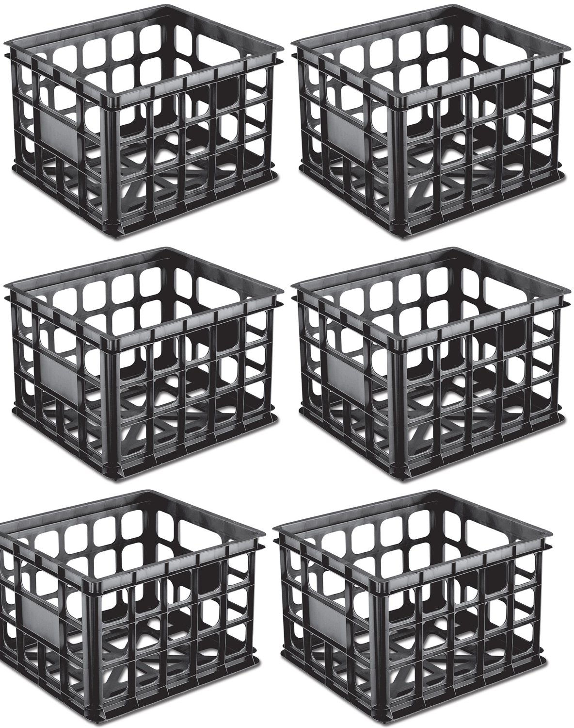 Charmant Sterilite Plastic Black Storage Box Milk Crate Containers Home (6 Pack)  16929006