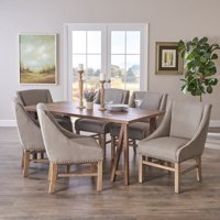 Sandor Farmhouse 7 Piece Wood Dining Set, Silver Gray and Natural Walnut