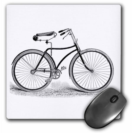 3dRose Black and white vintage bicycle pen and ink drawing print - old-fashioned cycler cycling bike, Mouse Pad, 8 by 8 inches
