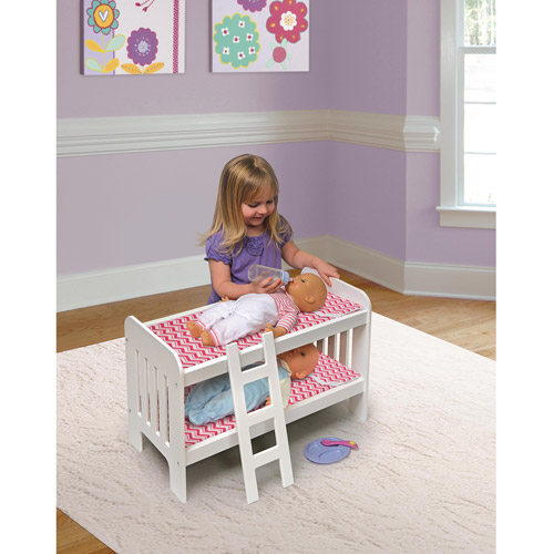 "Badger Basket Doll Bunk Bed with Ladder, Chevron Print, Fits Most 18"" Dolls and My Life As"