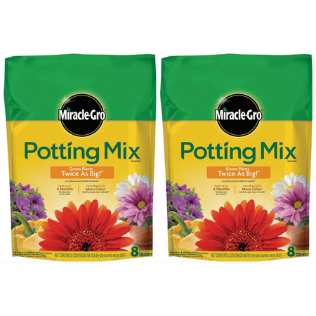 Miracle-Gro Potting Mix, 8 Quart (2 pack)