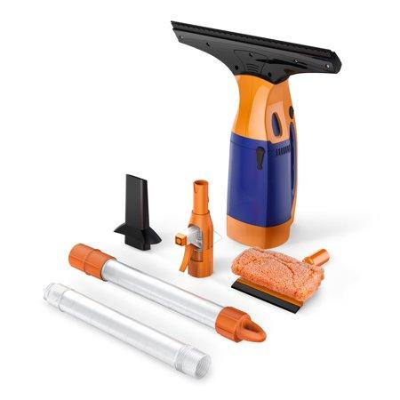 bestek lightweight cordless window vacuum cleaner squeegee with sponge with 2 extension. Black Bedroom Furniture Sets. Home Design Ideas