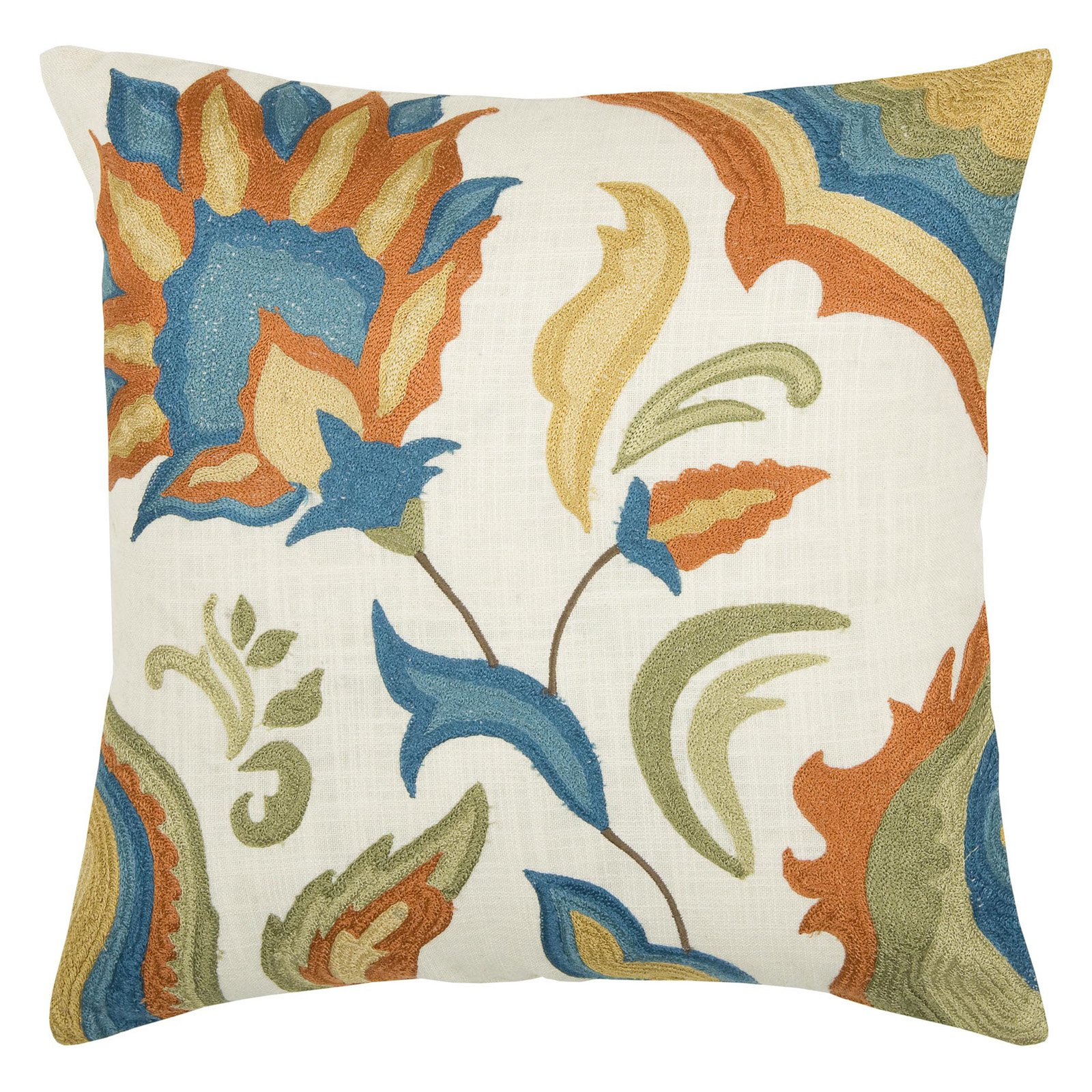 """Rizzy Home Decorative Poly Filled Throw Pillow Floral 18""""X18"""" Natural"""