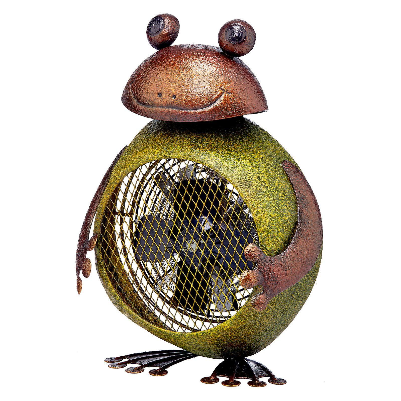 DecoFLAIR Table Fan Two-Speed Space Heater Fan, Frog Figurine Fan