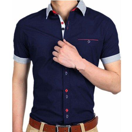 abc0b0071b0 INCERUN - Men s Casual Short Sleeve Button Down Business Shirts -  Walmart.com