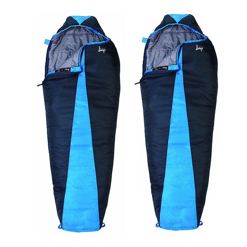 Slumberjack Latitude 40 Degree Polyester Mummy Sleeping Bag, Blue (2 Pack)